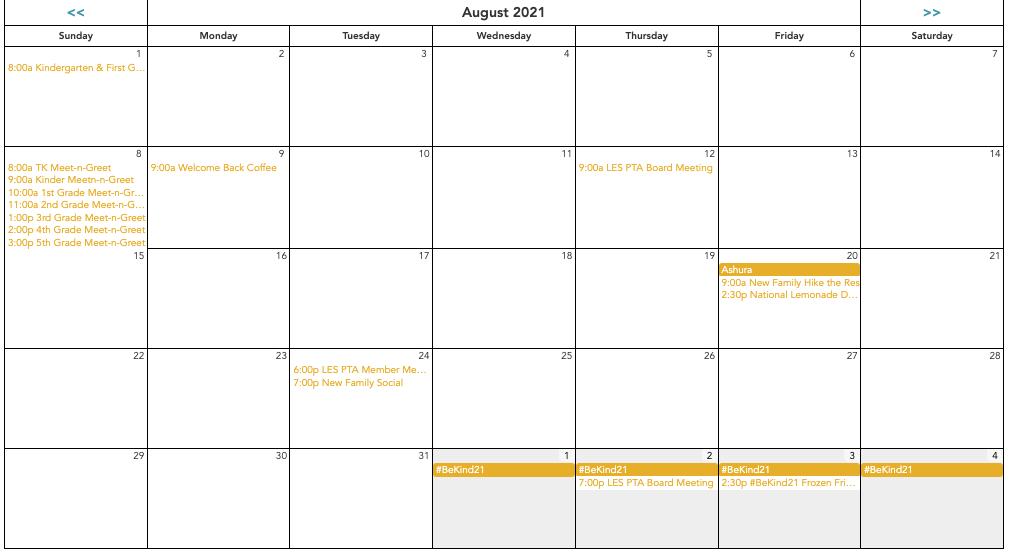 LES PTA Calendar